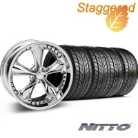 Foose Staggered Nitrous Chrome Wheel & NITTO Tire Kit - 20x8.5/10 (05-14 GT, V6) - Foose 32806||76005||76006||KIT 32805
