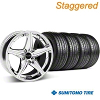 Foose Staggered Speed Chrome Wheel & Sumitomo Tire Kit - 19x8.5/9.5 (05-14 GT, V6) - Foose 32823||63036||63037||KIT 32822
