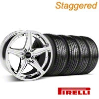 Staggered Chrome Foose Speed Wheel & Pirelli Tire Kit - 19x8.5/9.5 (05-14 GT, V6) - Foose KIT 32822||32823||63101||63102