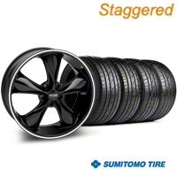 Staggered Black Foose Legend Wheel & Sumitomo Tire Kit - 20x8.5/10 (05-14 GT, V6) - Foose KIT 32802||32803||63024||63025