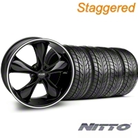 Staggered Black Foose Legend Wheel & NITTO Tire Kit - 20x8.5/10 (05-14 GT, V6) - Foose KIT 32802||32803||76005||76006