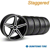 Staggered Black Machined Foose Speed Wheel & Sumitomo Tire Kit - 19x8.5/9.5 (05-14 GT, V6) - Foose KIT 32820||32821||63036||63037