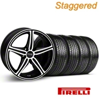 Staggered Black Machined Foose Speed Wheel & Pirelli Tire Kit - 19x8.5/9.5 (05-14 GT, V6) - Foose KIT 32820||32821||63101||63102
