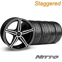 Staggered Black Machined Foose Speed Wheel & NITTO Tire Kit - 20x8.5/10 (05-14 GT, V6) - Foose KIT 32811||32812||76005||76006