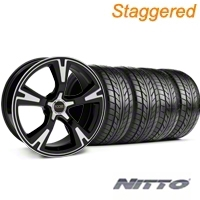 Foose Staggered Black Machined RS Wheel & NITTO Tire Kit - 20x8.5/10 (05-13 All) - Foose 32819||76005||76006||KIT 32818