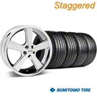 Staggered Nova Chrome Wheel & Sumitomo Tire Kit - 20x8.5/10 (05-14 GT, V6) - American Racing 27213||63024||63025||KIT 27211