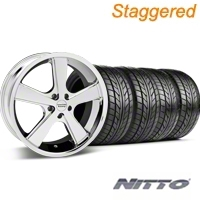 Staggered Chrome American Racing Nova Wheel & NITTO Tire Kit - 20x8.5/10 (05-14 GT, V6) - American Racing KIT 27211||27213||76005||76006