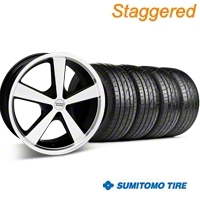 Staggered Black Machined Nova Wheel & Sumitomo Tire Kit - 20x8.5/10 (05-14 GT, V6) - American Racing KIT 27212||27214||63024||63025