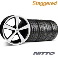 Staggered Black Machined American Racing Nova Wheel & NITTO Tire Kit - 20x8.5/10 (05-14 GT, V6) - American Racing KIT 27212||27214||76005||76006