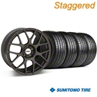 Staggered Matte Gunmetal TSW Nurburgring Wheel & Sumitomo Tire Kit - 20x8.5/10 (05-14 All) - TSW KIT 27356||27356||63024||63025