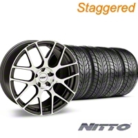 Staggered Gunmetal TSW Nurburgring Wheel & NITTO Tire Kit - 18x8/9 (99-04 All) - TSW KIT 27351G94||27353G94||76002||76013