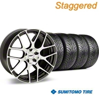 TSW Staggered Nurburgring Gunmetal Wheel & Sumitomo Tire Kit - 18x8/9 (94-98 All) - TSW 27353G94||63005||63029||KIT 27351G94