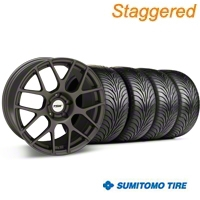 TSW Staggered Nurburgring Matte Gunmetal Wheel & Sumitomo Tire Kit - 18x8/9 (94-98 All) - TSW 27352G94||63005||63029||KIT 27350G94