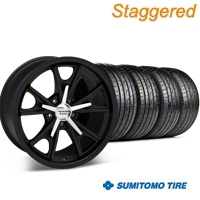 Staggered Daytona Matte Black Wheel & Sumitomo Tire Kit - 20x8.5/9.5 (05-14 GT, V6) - American Racing 27220||63024||63025||KIT 27218
