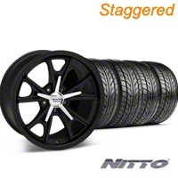 Staggered Daytona Matte Black Wheel & NITTO Tire Kit - 20x8.5/9.5 (05-14 GT, V6) - American Racing 27220||76005||76006||KIT 27218