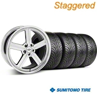 Staggered Chrome Huntington Bolsa Wheel & Sumitomo Tire Kit - 18x9/10 (05-14 GT, V6) - Huntington KIT 35206||35207||63008||63009