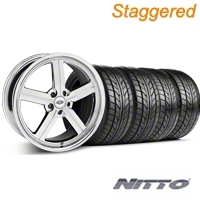 Staggered Chrome Huntington Bolsa Wheel & NITTO Tire Kit - 18x9/10 (05-14 GT, V6) - Huntington KIT 35206||35207||76009||76010