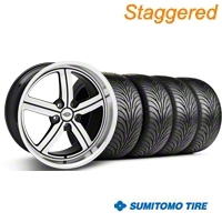 Staggered Machined Huntington Bolsa Wheel & Sumitomo Tire Kit - 18x9/10 (05-14 GT, V6) - Huntington KIT 35204||35205||63008||63009