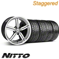 Staggered Machined Huntington Bolsa Wheel & NITTO Tire Kit - 18x9/10 (05-13 GT, V6) - None 35205||76009||76010||KIT 35204