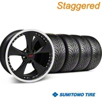Konig Staggered Bravado Americana II Matte Black Wheel & Sumitomo Tire Kit - 18x9/10 (05-14 GT, V6) - Konig 35101||63008||63009||KIT 35103