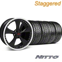 Konig Staggered Bravado Americana II Matte Black Wheel & NITTO Tire Kit - 18x9/10 (05-14 GT, V6) - Konig 35101||76009||76010||KIT 35103
