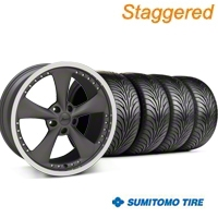 Konig Staggered Bravado Americana II Matte Graphite Wheel & Sumitomo Tire Kit - 18x9/10 (05-14 GT, V6) - Konig 35100||63008||63009||KIT 35102