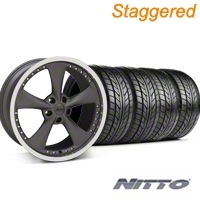 Staggered Matte Graphite Bravado Americana II Wheel & NITTO Tire Kit - 18x9/10 (05-14 GT, V6) - Konig KIT 35102||35100||76009||76010