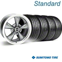 Anthracite Bullitt Wheel & Sumitomo Tire Kit - 18x8 (05-14 GT, V6) - AmericanMuscle Wheels KIT||28315||63039