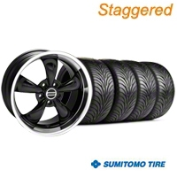 Staggered Black Bullitt Wheel & Sumitomo Tire Kit - 18x9/10 (99-04 All) - AmericanMuscle Wheels KIT||28264||28270||63006||63016