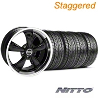 Staggered Bullitt Black Wheel & NITTO Tire Kit - 18x9/10 (99-04 All) - American Muscle Wheels KIT||28270||76003||28264||76013||mb1
