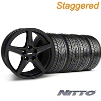 Staggered Matte Black Saleen Style Wheel & NITTO Tire Kit - 18x9/10 (99-04 All) - AmericanMuscle Wheels KIT 28306G94||28307||76013||76003