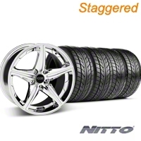 Foose Staggered Speed Chrome Wheel & NITTO Tire Kit - 20x8.5/10 (05-14 GT, V6) - Foose 32814||76005||76006||KIT 32813
