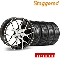Staggered TSW Nurburgring Gunmetal Wheel & Pirelli Tire Kit - 19x8.5/9.5 (05-14 GT, V6) - American Muscle Wheels 27355||63101||63102||KIT 27360