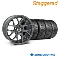 Staggered Charcoal AMR Wheel & Sumitomo Tire Kit - 18x9/10 (05-14 All) - AmericanMuscle Wheels KIT||28330||28333||63008||63009