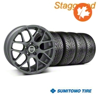 Staggered AMR Charcoal Wheel & Sumitomo Tire Kit - 18x9/10 (05-14 All) - American Muscle Wheels KIT