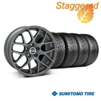 Staggered AMR Charcoal Wheel & Sumitomo Tire Kit - 18x9/10 (05-14 All) - American Muscle Wheels 28330||28333||63008||63009||KIT