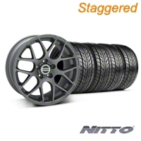 Staggered Charcoal AMR Wheel & NITTO Tire Kit - 18x9/10 (05-14 All) - AmericanMuscle Wheels KIT||28330||28333||76009||76010