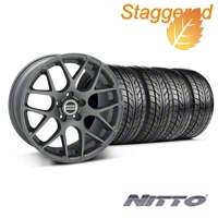 Staggered AMR Charcoal Wheel & NITTO Tire Kit - 18x9/10 (05-14 All) - American Muscle Wheels 28330||28333||76009||76010||KIT