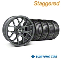 Staggered AMR Charcoal Wheel & Sumitomo Tire Kit - 19x8.5/10 (05-14 All) - American Muscle Wheels 28336||28339||63036||63037||KIT