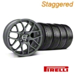 Staggered Charcoal AMR Wheel & Pirelli Tire Kit - 19x8.5/10 (05-14 All) - AmericanMuscle Wheels KIT||28336||28387||63101||63102