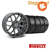 Staggered AMR Charcoal Wheel & Pirelli Tire Kit - 19x8.5/10 (05-14 All) - American Muscle Wheels KIT