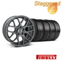 Staggered AMR Charcoal Wheel & Pirelli Tire Kit - 19x8.5/10 (05-14 All) - American Muscle Wheels 28336||28387||63101||63102||KIT