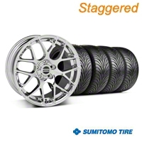 Staggered AMR Chrome Wheel & Sumitomo Tire Kit - 18x8/9 (94-98 All) - American Muscle Wheels 28325||28328||63005||63029||KIT