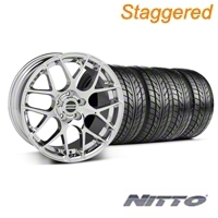 Staggered Chrome AMR Wheel & NITTO Tire Kit - 18x8/9 (99-04 All) - AmericanMuscle Wheels KIT||28325||28328||76002||76013