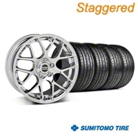 Staggered Chrome AMR Wheel & Sumitomo Tire Kit - 19x8.5/9.5 (05-13 All) - American Muscle Wheels 28334||28337||63036||63037||KIT