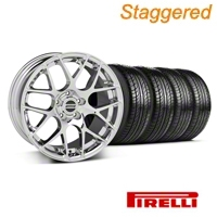 Staggered Chrome AMR Wheel & Pirelli Tire Kit - 19x8.5/9.5 (05-13 All) - American Muscle Wheels 28334||28337||63101||63102||KIT