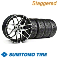 Staggered Matte Black Machined AMR Wheel & Sumitomo Tire Kit - 18x8/9 (99-04 All)