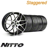Staggered Matte Black Machined AMR Wheel & NITTO Tire Kit - 18x9/10 (05-13 All)