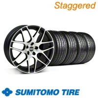 Staggered Matte Black Machined AMR Wheel & Sumitomo Tire Kit - 19x8.5/9.5 (05-13 All) - American Muscle Wheels 28335||28338||63036||63037||KIT