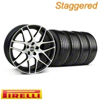 Staggered Matte Black Machined AMR Wheel & Pirelli Tire Kit - 19x8.5/9.5 (05-13 All)